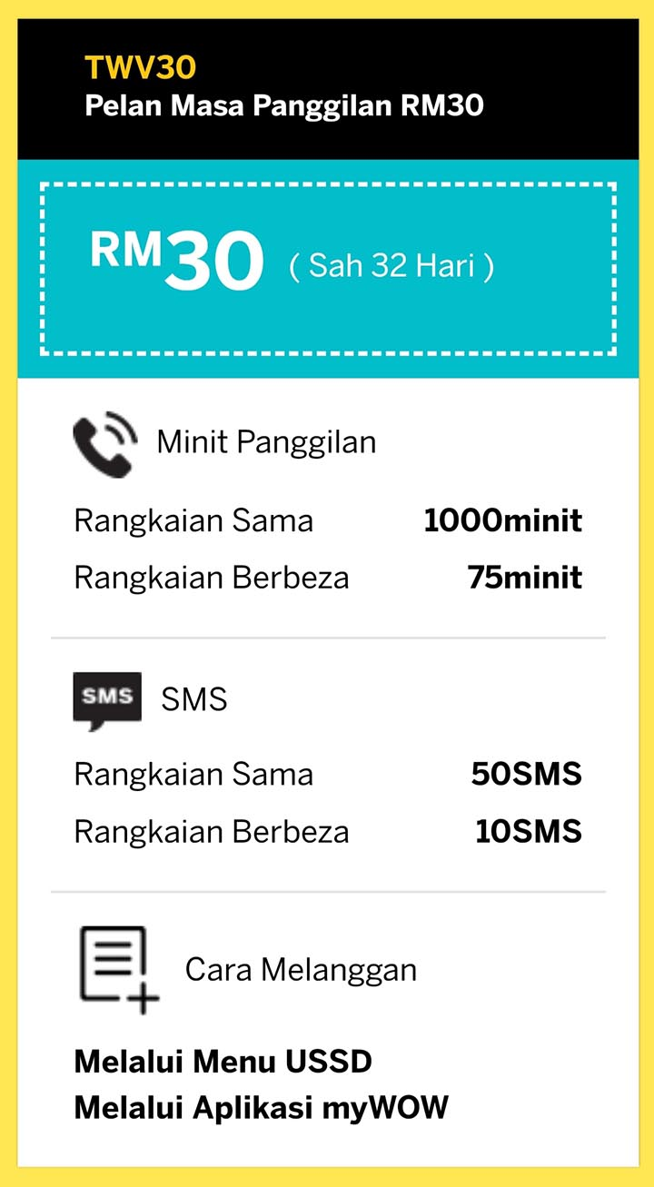 Tone Wow Plan Baru 2020 Unlimited Call Data Pek Permulaan Starter Pack Tone Wow Lite Digi RM30 TWV30 daftar beli simkad tonewow.net tone-wow.net